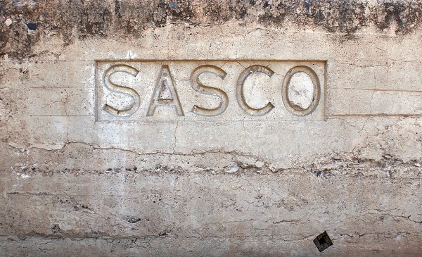 Sign on the Sasco railroad platfrom (2018)