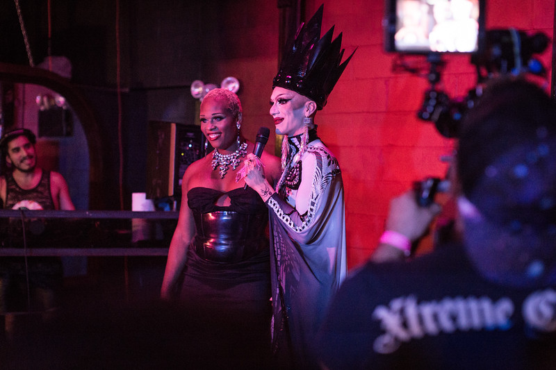 Reigning Queen Sasha Velour introduces her Season 9 competitor, Peppermint to the crowd at Love, Velour. A film crew was on hand for Peppermint's documentary project.