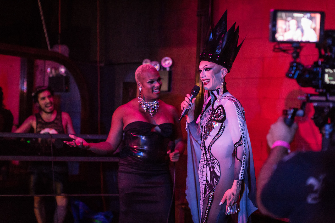 Peppermint and Sasha Velour speak to the crowd at Love, Velour on Sunday, June 25 in Bushwick. A film crew was on hand for Peppermint's documentary project.