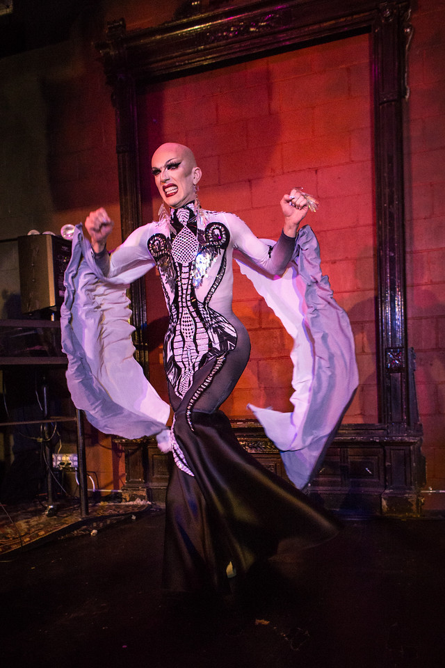 Sasha Velour wore a gown by Brooklyn-based designer Diego Montoya.