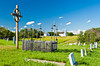 The metis cemetery and the Church of St. Antoine de Padoue in Batoche, Saskatchewan, Canada.