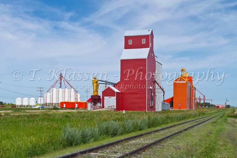 Grain elevators and railroad tracks at Davidson, Saskatchewan, Canada.