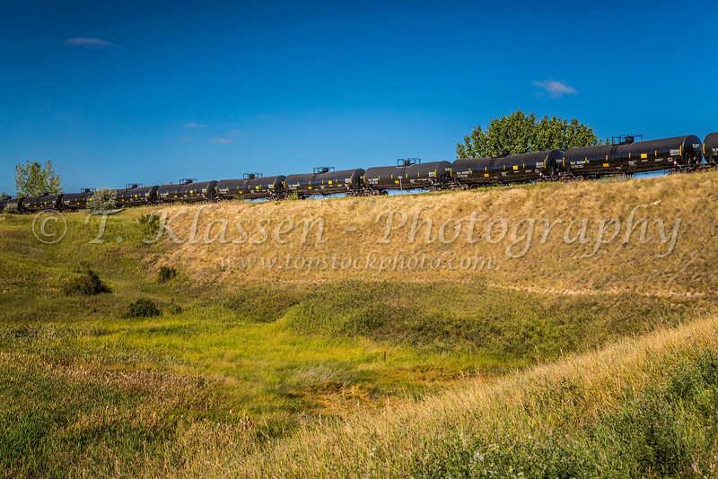 A railway overpass and rail tanker cars at Estevan, Saskatchewan, Canada.