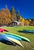 Colorful canoes at the marina on Waskesiu Lake in Prince Albert National Park, Saskatchewan, Canada.