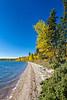 Waskesiu Lake with fall foliage color in Prince Albert National Park, Saskatchewan, Canada.
