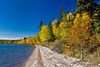 Waskesiu Lake with fall foliage color in Prince Albert National Park, Saskatchewan, Canada.