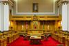 The interior Legislative Chambers of the Saskatchewan Legislature in Regina, Saskatchewan, Canada.