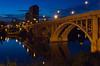 The Broadway Bridge over the South Saskatchewan River at dusk in Saskatoon, Saskatchewan, Canada.