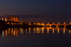 The University Bridge over the South Saskatchewan River at dusk in Saskatoon, Saskatchewan, Canada.