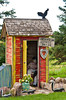 A unique colorful outhouse with decor in Waldheim, Saskatchewan, Canada.