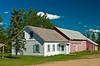 A Mennonite house and attached barn at the Saskatoon River Valley Museum at Hague, Saskatchewan, Canada.