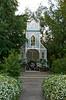 A white wedding trellis church at the Berry Barn near Saskatoon, Saskatchewan, Canada.