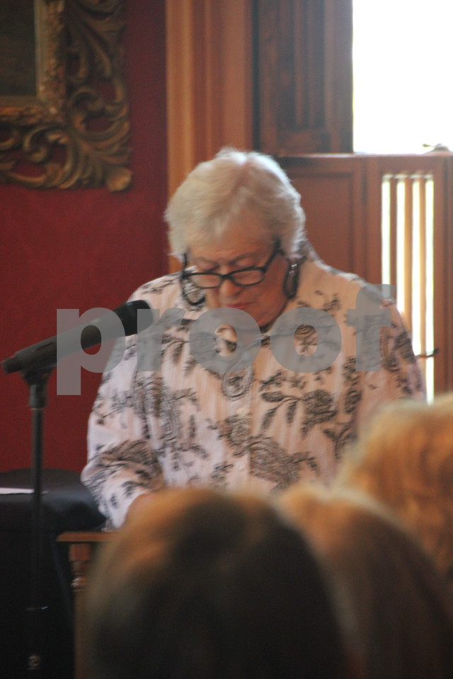 """On Sunday, October 2, 2016 the Vincent House in Fort Dodge held an event  called """"Sassy Ladies of The West"""". Stories  about  ladies of the West were told by a guest speaker, to those in attendance. Afterward there were refreshments served. Shown here is: Bev Hinds, the guest speaker."""