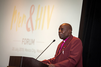 Men and HIV Forum, Mexico City, Mexico Photo shows James Okombo (Network of Church Leaders Tackling HIV, Kenya) co-chair of the Case Studies 1 session. Photo ©International AIDS Society/Steve Forrest/Workers' Photos