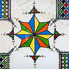 Saudi Arabia, Asir, Sarat Habidah, Traditional Hand Painted Decorations In A House