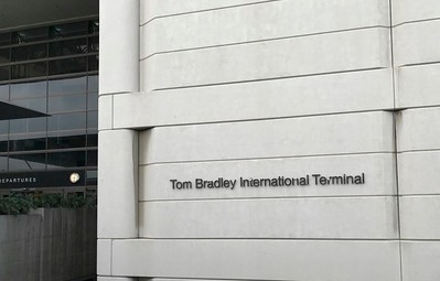 Tom Bradley, a former mayor of Los Angeles, is remembered at the Los Angeles International terminal.