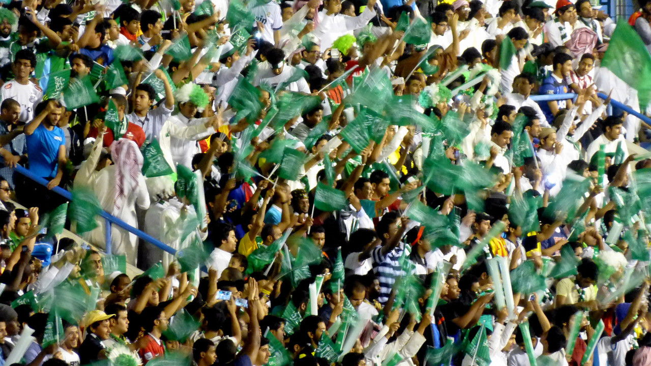 Fans greet their national team at the King Fahad Stadium, Dammam for the final qualification game for the Asia Cup 2015. Saudi beat Iraq 2-1.