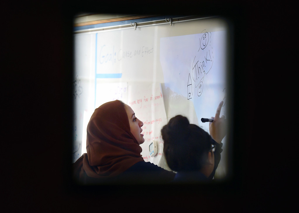 . Ms. Abu ALsamah teaches math to sixth-graders on Monday at the STRIVE Prep Kepner school in Denver. For more photos of Alsomah teaching at the school go to dailycamera.com Jeremy Papasso/ Staff Photographer 11/13/2017