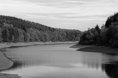 A quiet arm of the Bigge Reservoir (b/w)