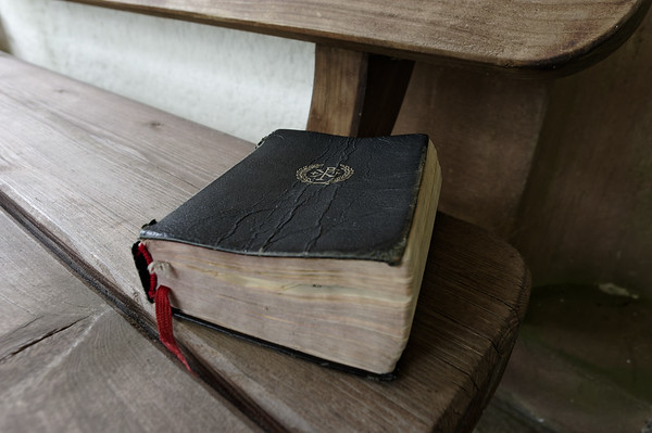 Hymn book left by the chapel entrance