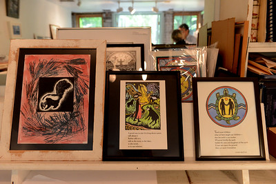Tania Barricklo-Daily Freeman                       Some examples of artist Prue See's workon Burt St. in the village of Saugerties.