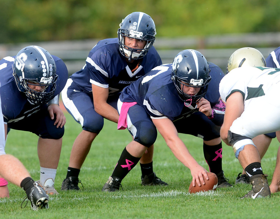 . Tania Barricklo- Daily Freeman  Sawyer quarterback Matt Bucci
