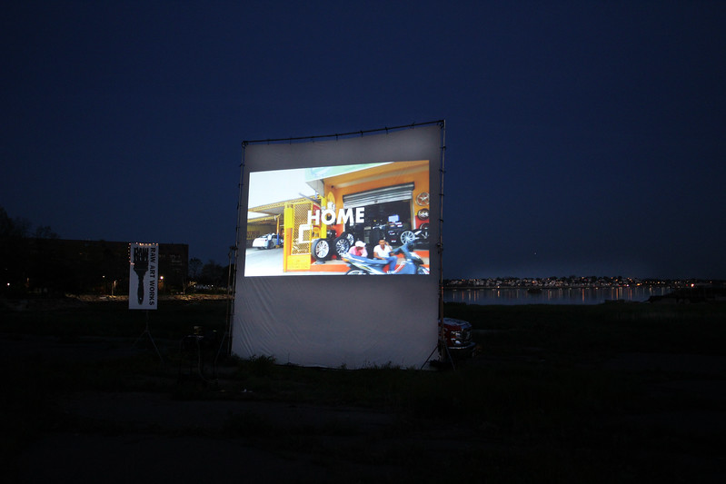 "Lynn, Ma. 5-16-17. This is the second night of the three night RAW's video installation projecting images of ""home"" in three different countries: Cambodia, Dominican Republic and ""Guatemala, as seen through the eyes of RAW's teen filmmakeres. Tonight's experience was on the Lynnway."