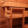 Custom sauna in Chattanooga, TN (industrial) - ADA-accessible<br /> *Hemlock paneling vertically<br /> *Custom bench levels<br /> *Custom bench depths<br /> *Custom foot-rest guard rail<br /> *Standard backrests