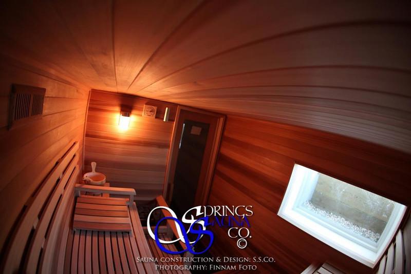 Sauna in Windsor, CO:<br /> *Western Red Cedar paneling horizontally<br /> *Standard benches<br /> *3 bench levels<br /> *Window<br /> *Custom heater guard & Foot rest<br /> *Standard backrests<br /> *Ropelighting under upper bench<br /> *Bucket shelf