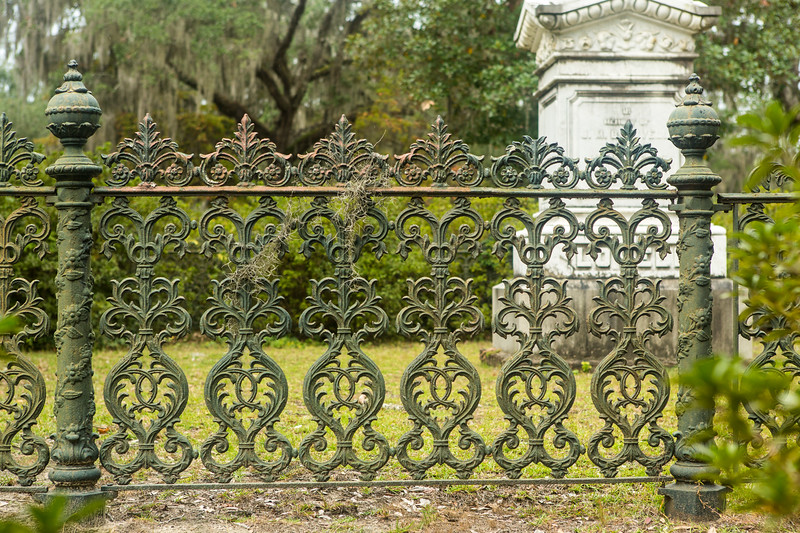 Wrought iron fence at Bonaventure Cemetery