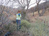 Susan (and canine friend, left foreground), surrounded by yst and buckeyes, in area where we spotted the rattlesnake.  Yikes!