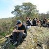 Lunch time SMD's Marsh Creek 7 property. <br /> Part of a Conservation Collaboration Agreement:<br /> Pittsburg High School and Save Mount Diablo (SMD).<br /> Participants: students and instructor from Pittsburg High School, and SMD staff and volunteers.<br /> Feb. 10, 2018