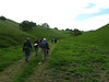 Under cloudy skies, we head up to the Irish Canyon property line.