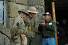 Burt Bogardus, former Mt. Diablo State Park Ranger, makes a point with two military men standing guard outside the entrance.