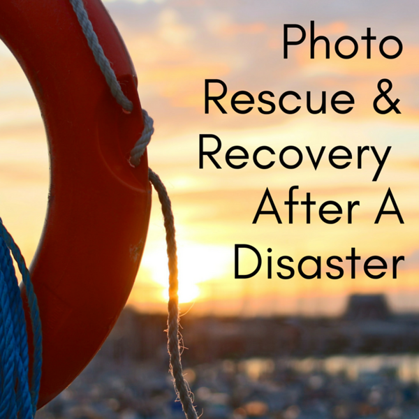 Photo rescue and recovery after a disaster Social Graphic Square