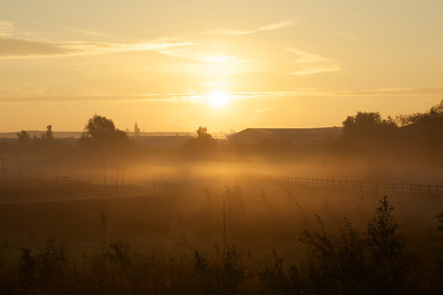 Broughton Gate and Magna Park in the morning mist