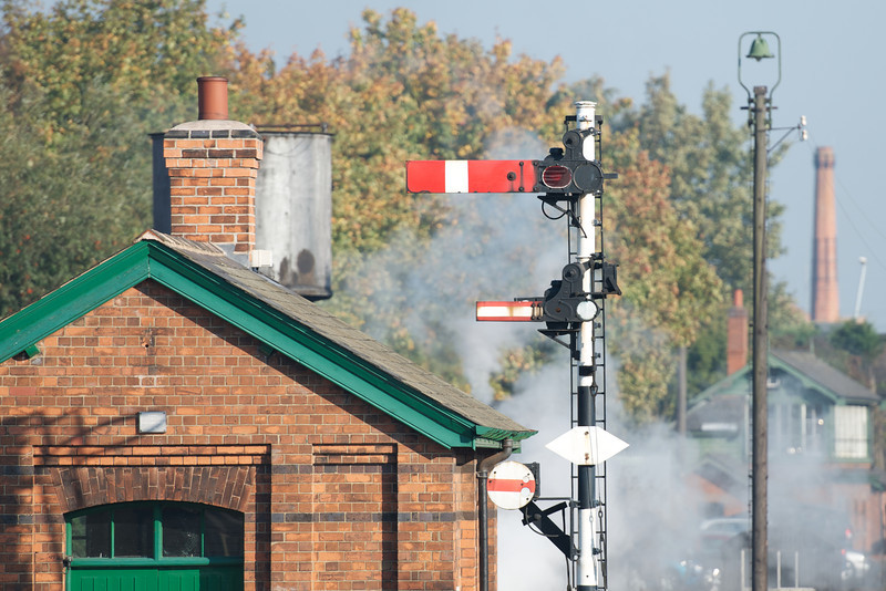 Signals and signal box in distance
