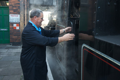 Dad boarding the footplate