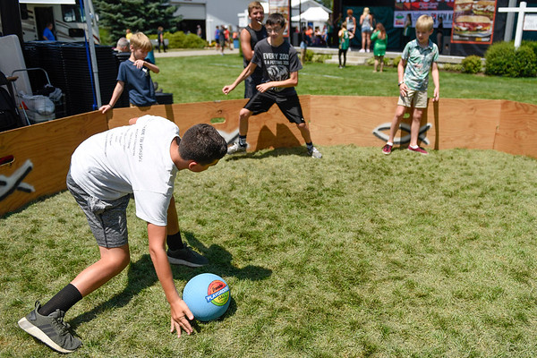 BEN MIKESELL | THE GOSHEN NEWS<br /> Kid's day participants play a game at Heritage Park.