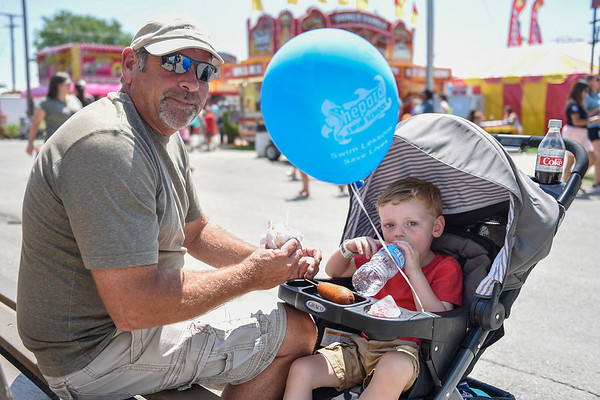 BEN MIKESELL | THE GOSHEN NEWS<br /> Mike Taylor, of Goshen, with grandson Raiden Taylor, 3.