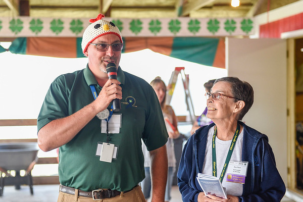 BEN MIKESELL | THE GOSHEN NEWS<br /> Elkhart County 4-H Fair president Josh Culp and poultry club leader Sue Perri.