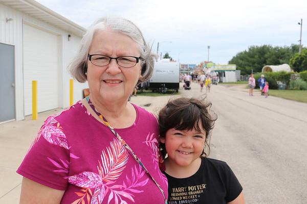 JOHN KLINE | THE GOSHEN NEWS Annetta Ropp, Elkhart, with granddaughter Annie Blystone, 9, Indianapolis