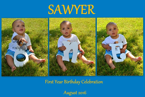 Sawyer First Birthday Celebration August 6, 2016