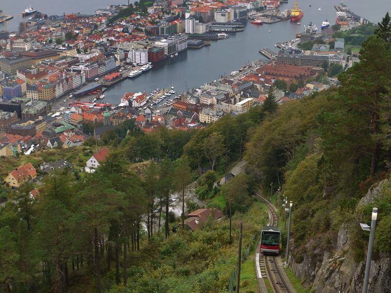 Funicular above Bergen, Norway