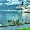 Cruise ship and kayak adventurers