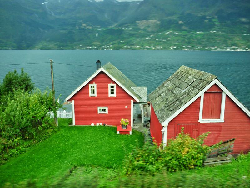 Small farm on fjord