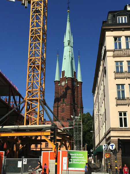 Tower of Klara Kyrka which we often noticed amid the construction mess on Vasagatan, but never visited