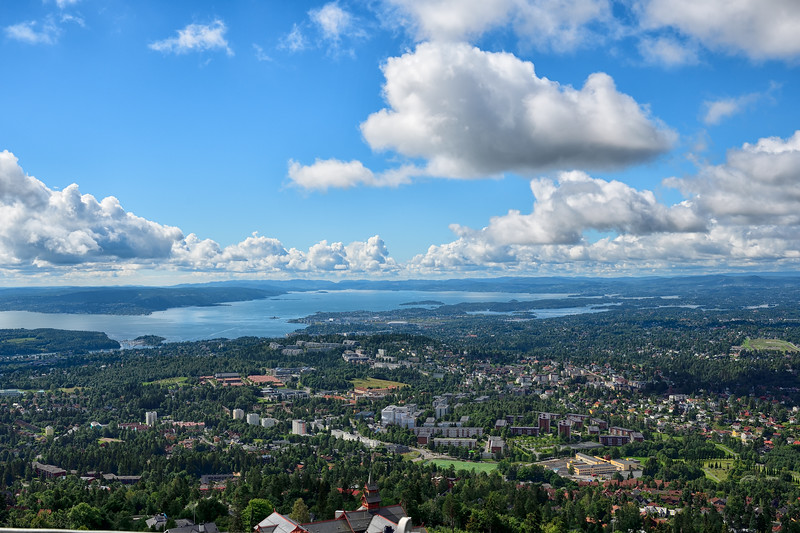 A view of Oslo harbor from the top of the ski jump, 420 meters above the heart of the city