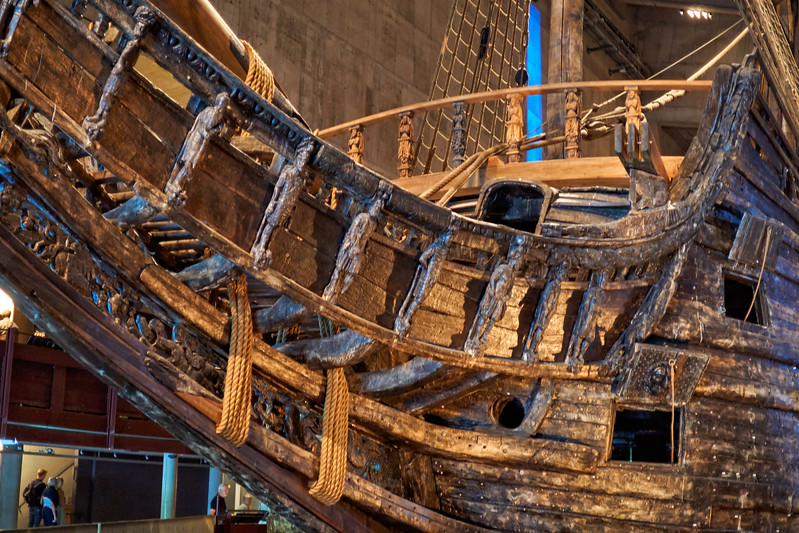 Prow of the sunken Vasa - foundered on maiden voyage in harbor 1628 - Vasa Museum Upon completion, one of the most powerful vessels afloat
