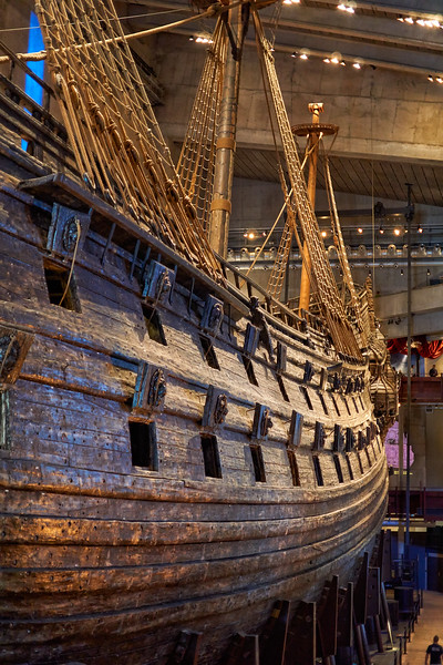 Broadside of the sunken Vasa - showing row of cannons at waterline which caused her to founder